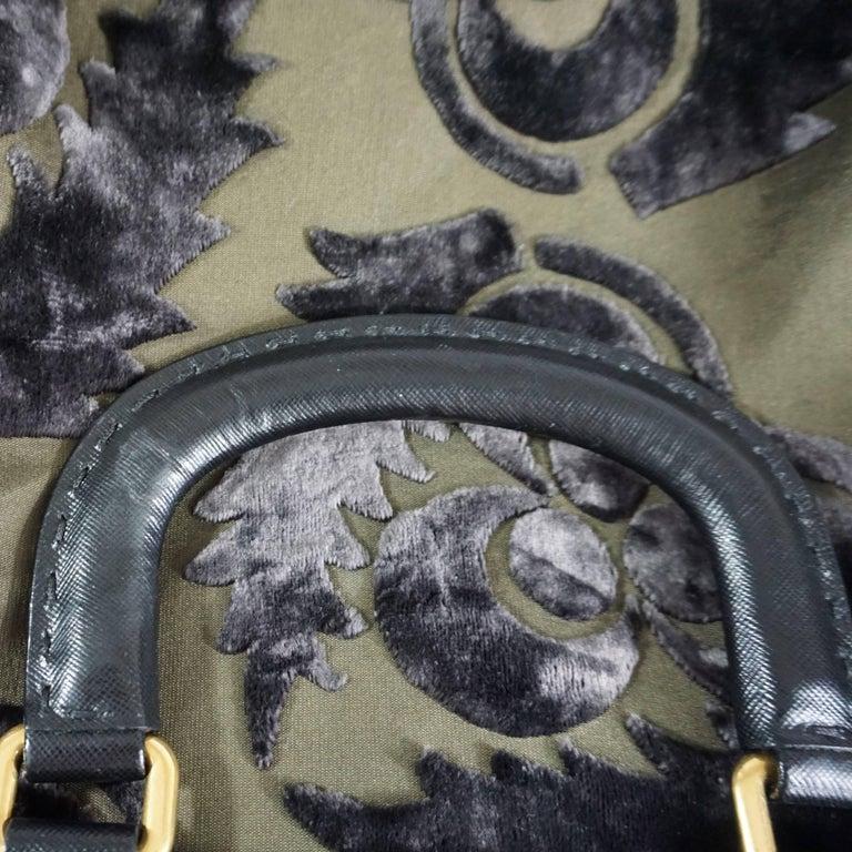Prada Olive and Black Cut Velvet Bag  For Sale 5