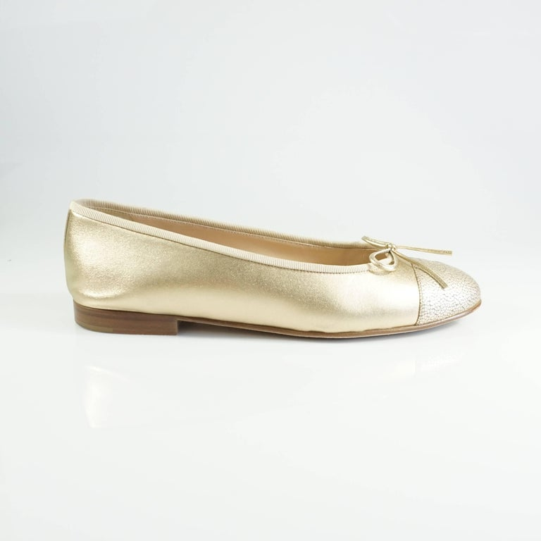 Chanel Gold Stingray Embossed Ballerina Flats - 39 2