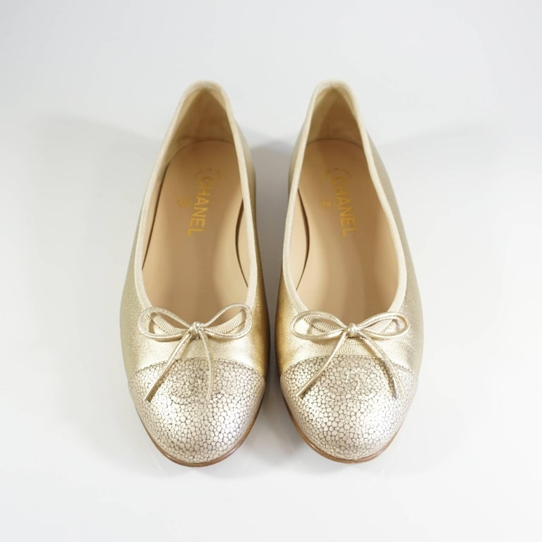 Chanel Gold Stingray Embossed Ballerina Flats - 39 3