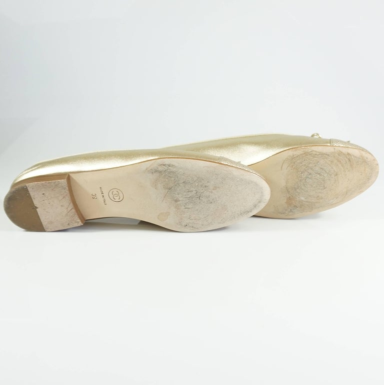 Chanel Gold Stingray Embossed Ballerina Flats - 39 5