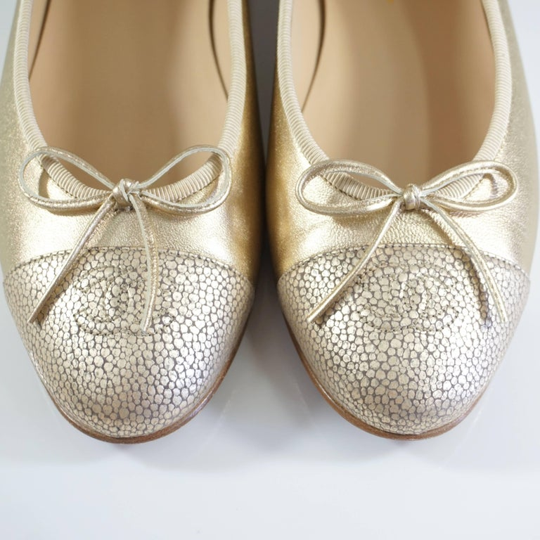 Chanel Gold Stingray Embossed Ballerina Flats - 39 6