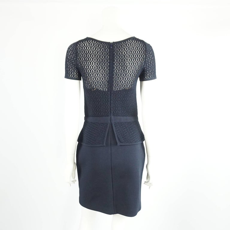 Oscar de la Renta Navy Knit Short Sleeve Dress - L 3
