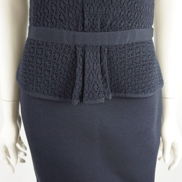 Oscar de la Renta Navy Knit Short Sleeve Dress - L 5