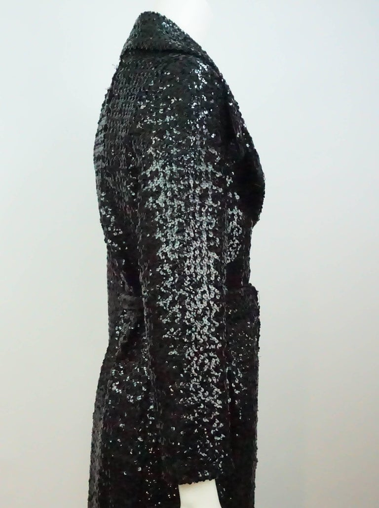 Vintage Black Sequin Full Length Trench Coat - M - Circa 70's In Good Condition For Sale In Palm Beach, FL