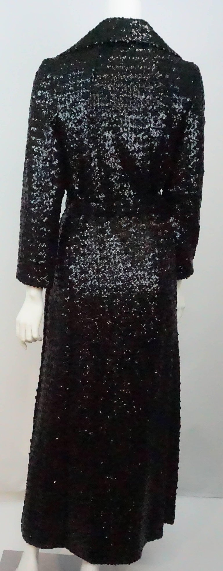 Women's Vintage Black Sequin Full Length Trench Coat - M - Circa 70's For Sale