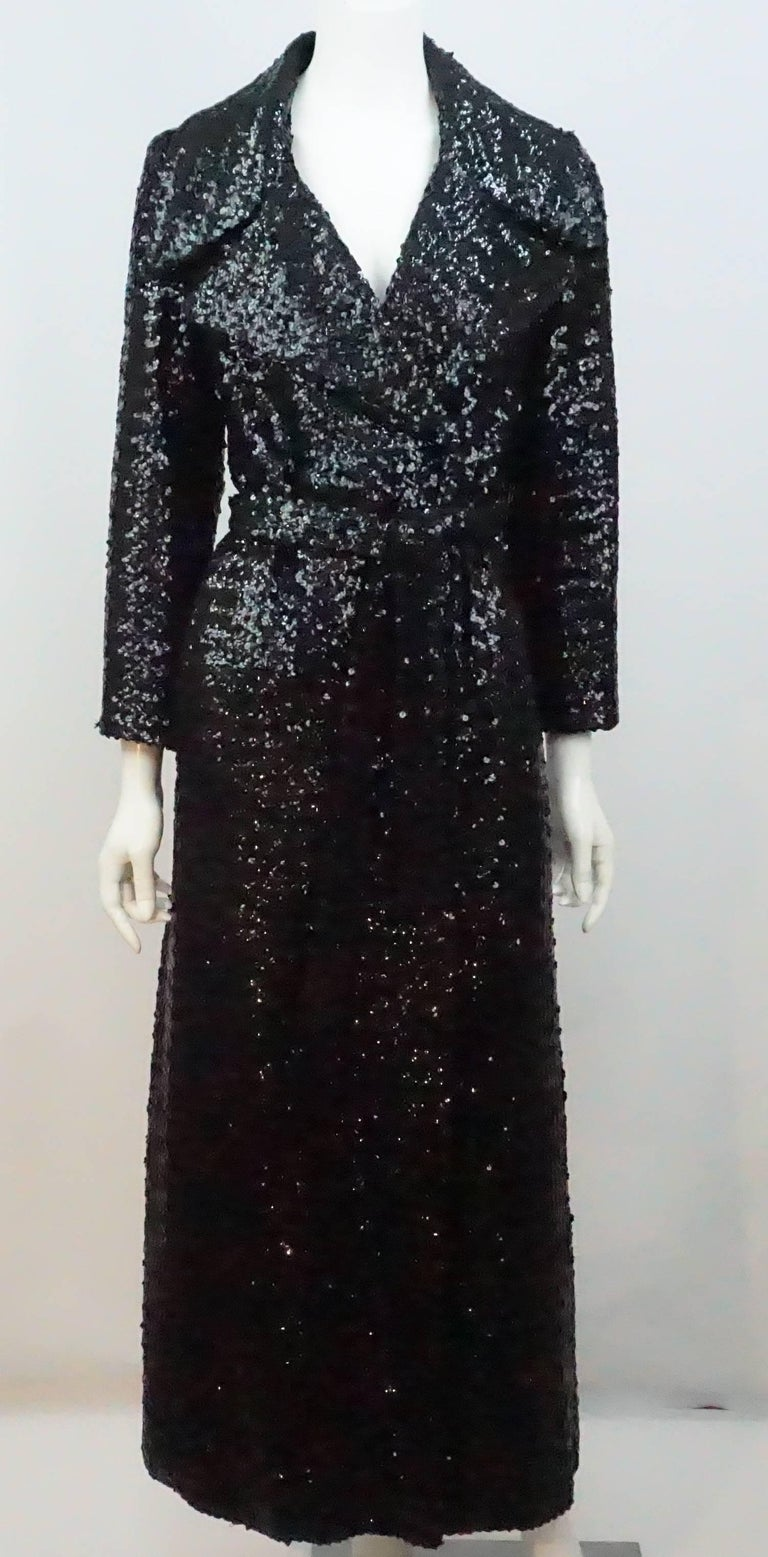 Vintage Black Sequin Full Length Trench Coat - M - Circa 70's For Sale 1