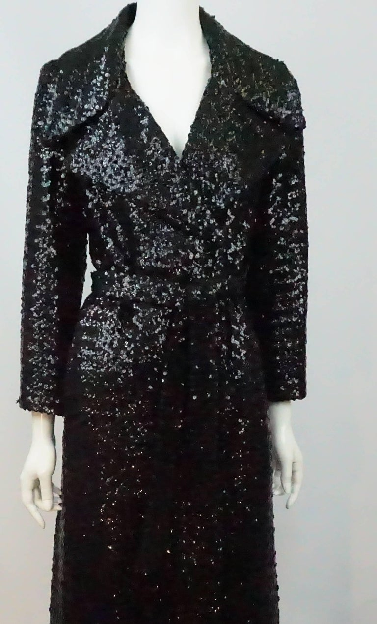 Vintage Black Sequin Full Length Trench Coat - M - Circa 70's For Sale 2