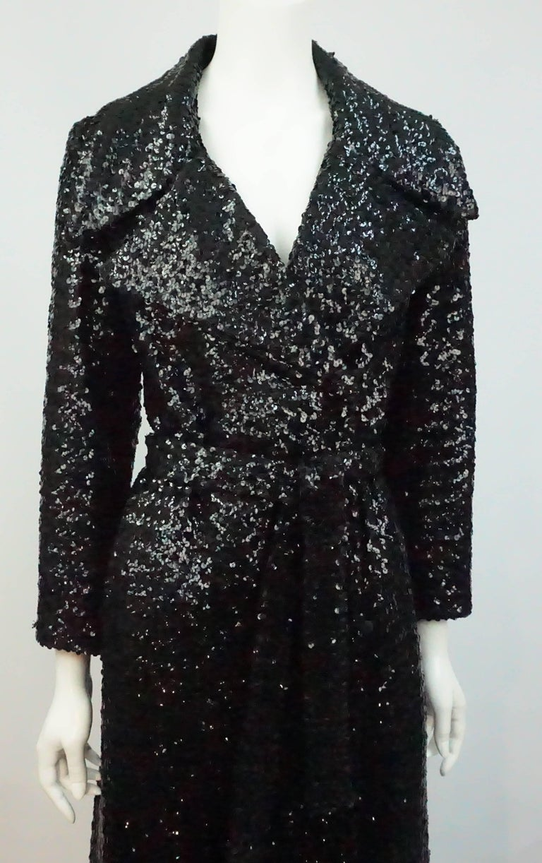 Vintage Black Sequin Full Length Trench Coat - M - Circa 70's For Sale 3