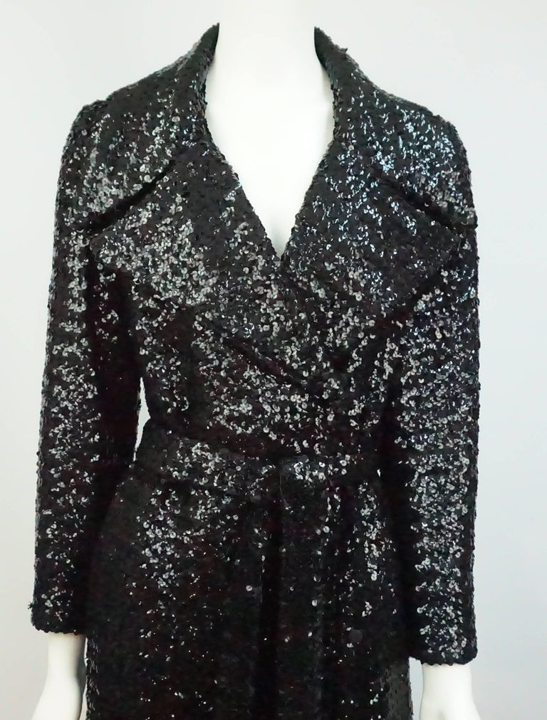 Vintage Black Sequin Full Length Trench Coat - M - Circa 70's For Sale 4