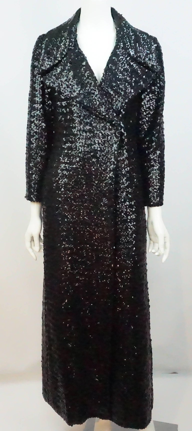 Vintage Black Sequin Full Length Trench Coat - M - Circa 70's For Sale 5