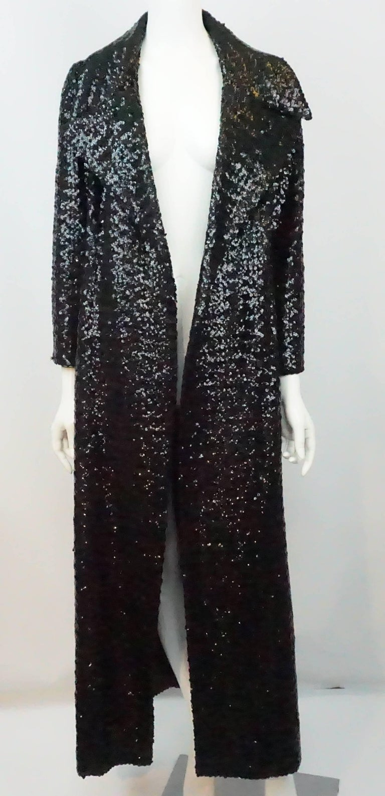 Vintage Black Sequin Full Length Trench Coat - M - Circa 70's For Sale 6