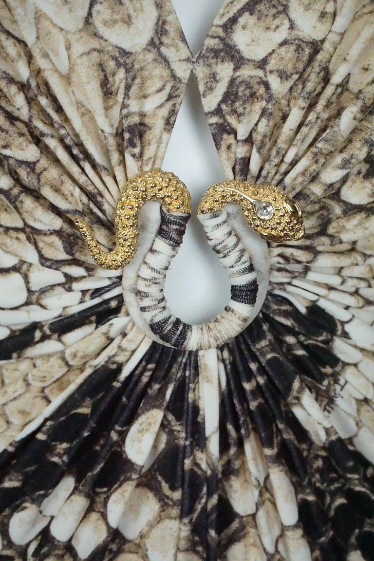 Roberto Cavalli Earthtone Snake Print Jersey Long Sleeve