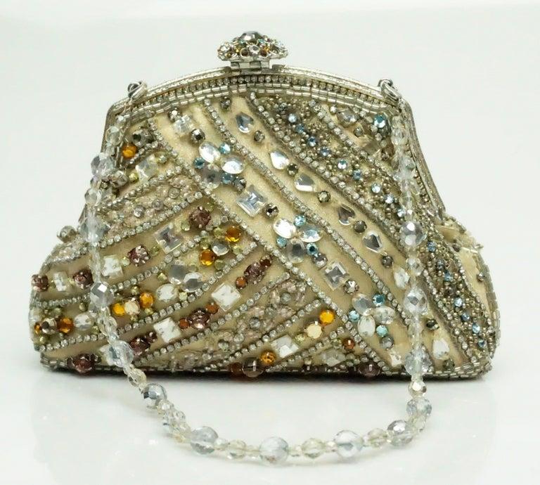 Brown Larisa Barrera Gold and Metallic Jeweled Evening Bag For Sale