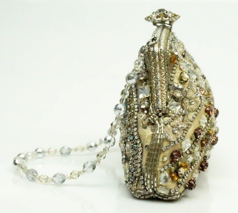 Larisa Barrera Gold and Metallic Jeweled Evening Bag In Excellent Condition For Sale In Palm Beach, FL