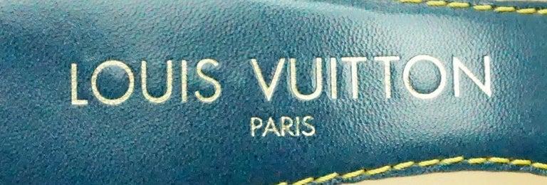 Louis Vuitton Denim Printed Slides - 37 For Sale 1