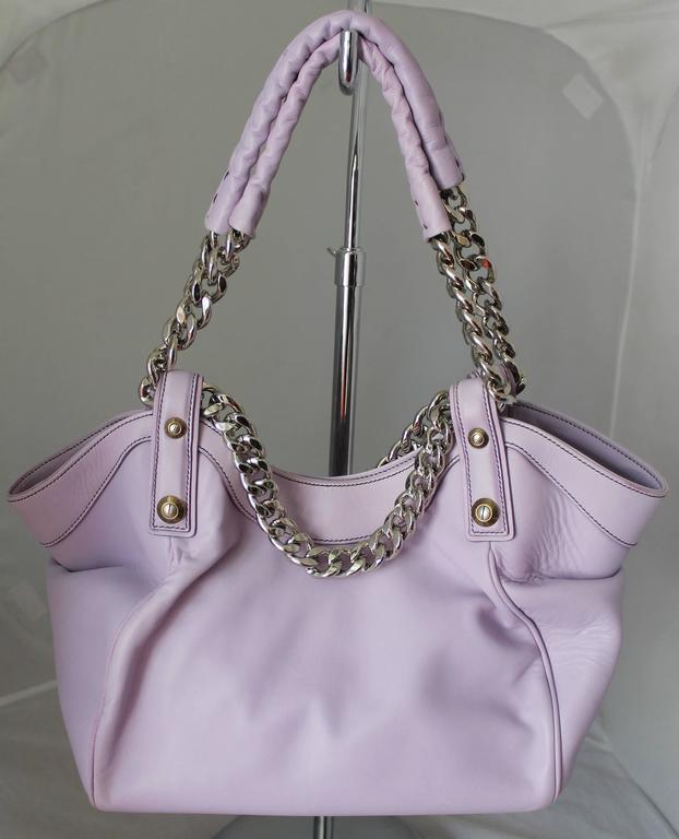 Henri Bendel Lavender Leather Handbag with Silver Chain 3