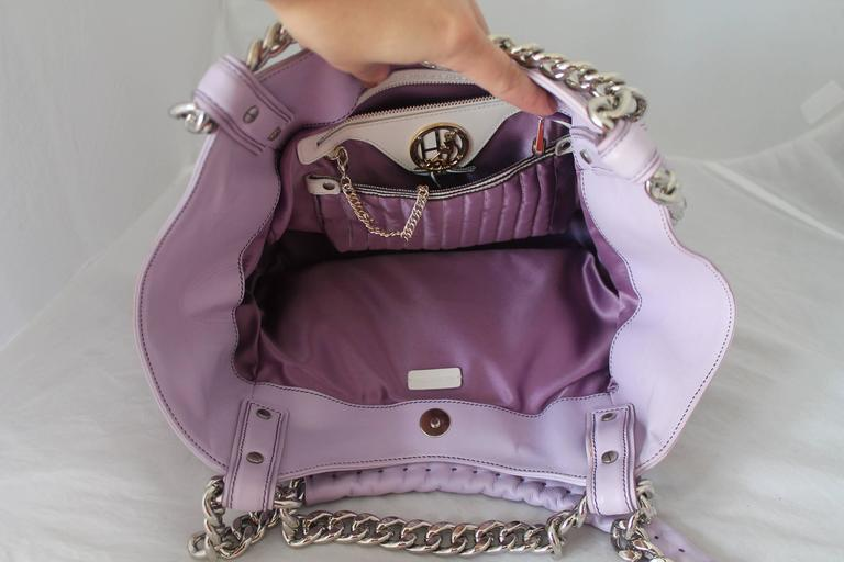 Henri Bendel Lavender Leather Handbag with Silver Chain 4