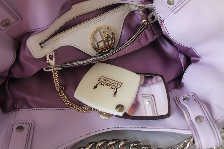 Henri Bendel Lavender Leather Handbag with Silver Chain 5