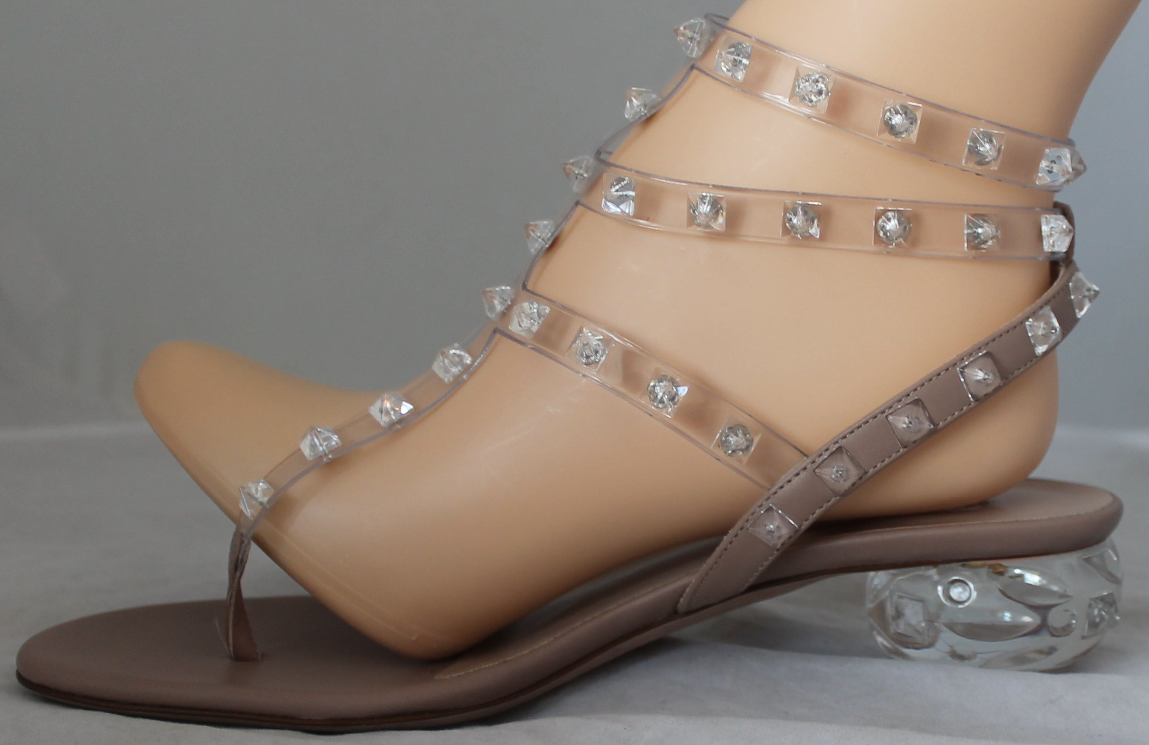 1485ec167df Valentino Clear Plastic Strappy Rock Stud Sandals with Lucite Heel - 37.5