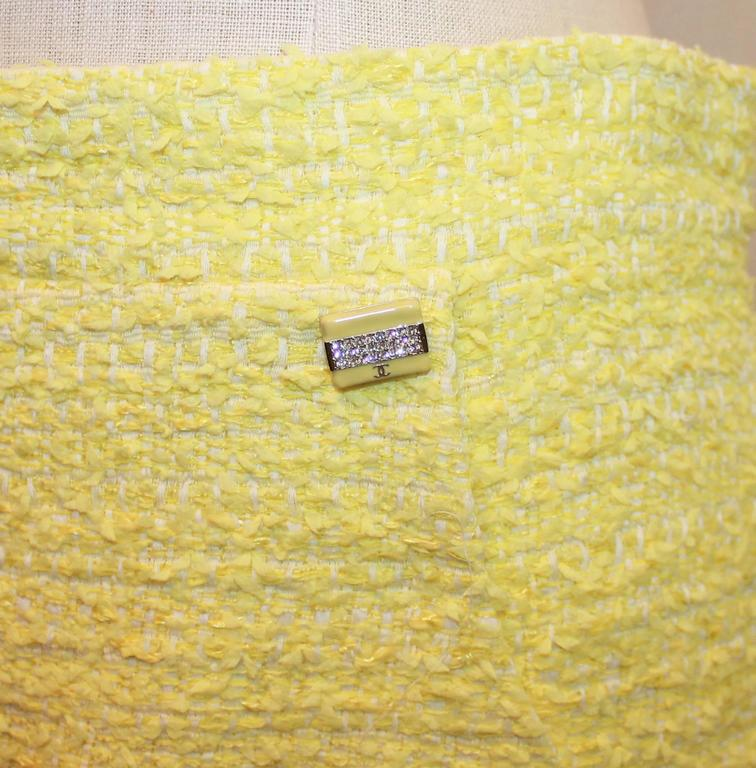 Chanel Yellow & Lime Tweed Skirt with 2 Pockets - 40 3