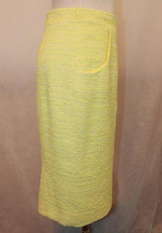 Chanel Yellow & Lime Tweed Skirt with 2 Pockets - 40 4
