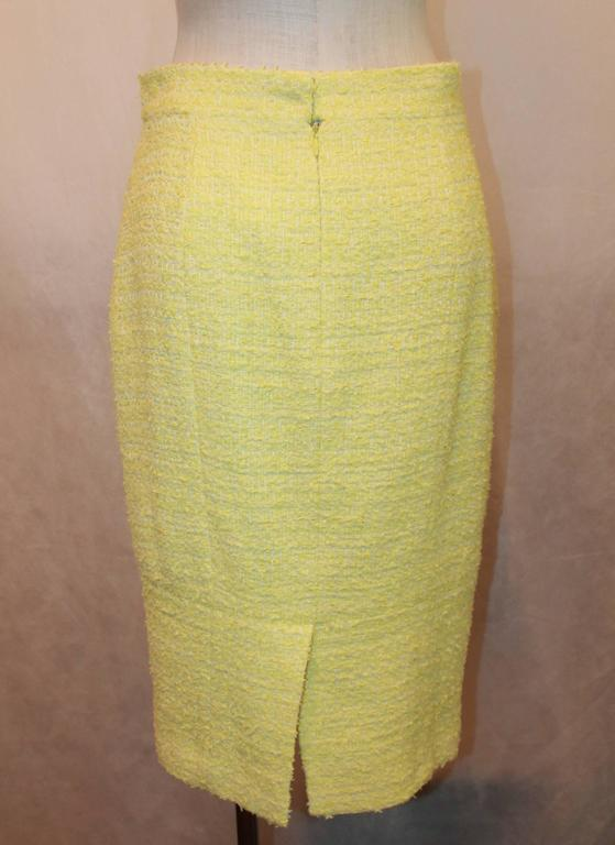 Chanel Yellow & Lime Tweed Skirt with 2 Pockets - 40 5
