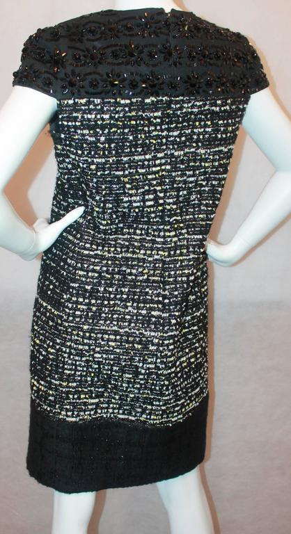Women's Giambattista Valli Black Stone and Mulit Tweed Dress - 10 For Sale