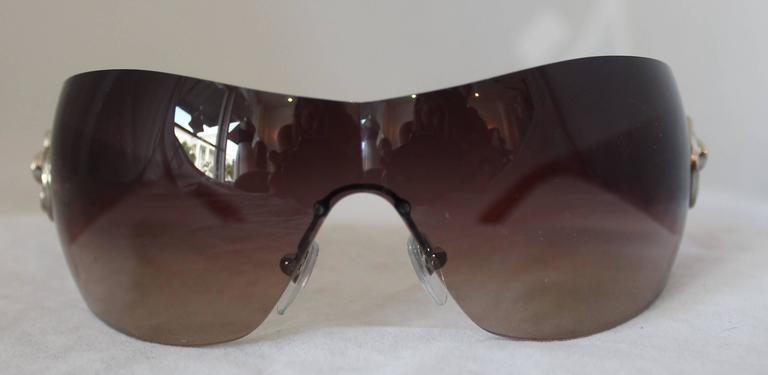 Bulgari Light Brown Sunglasses w/ Crystal Flower and Rhinestone Detail  2