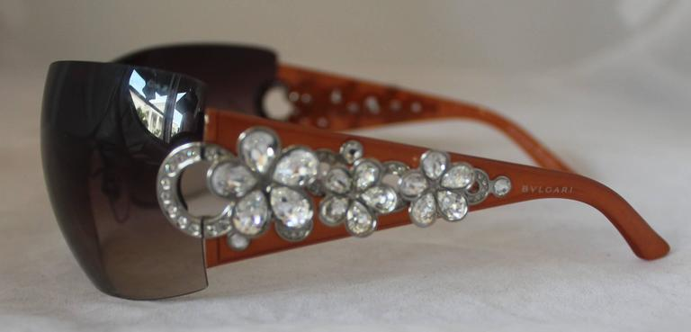 Bulgari Light Brown Sunglasses w/ Crystal Flower and Rhinestone Detail  3