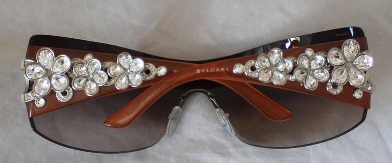 Bulgari Light Brown Sunglasses w/ Crystal Flower and Rhinestone Detail  4
