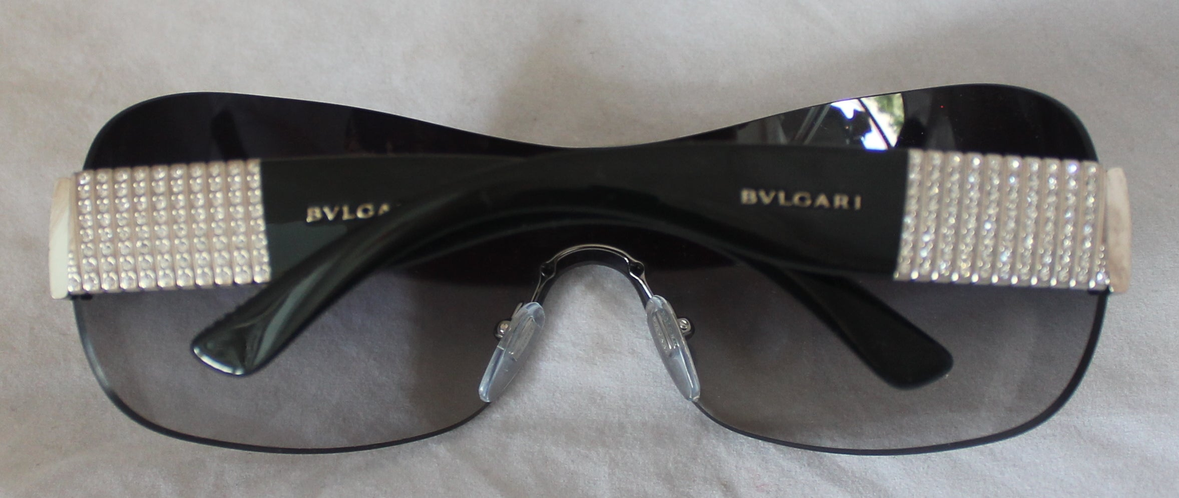 f5236b420fc1d Bulgari Black Sunglasses w  Vertical Rhinestone Detail - SHW at 1stdibs