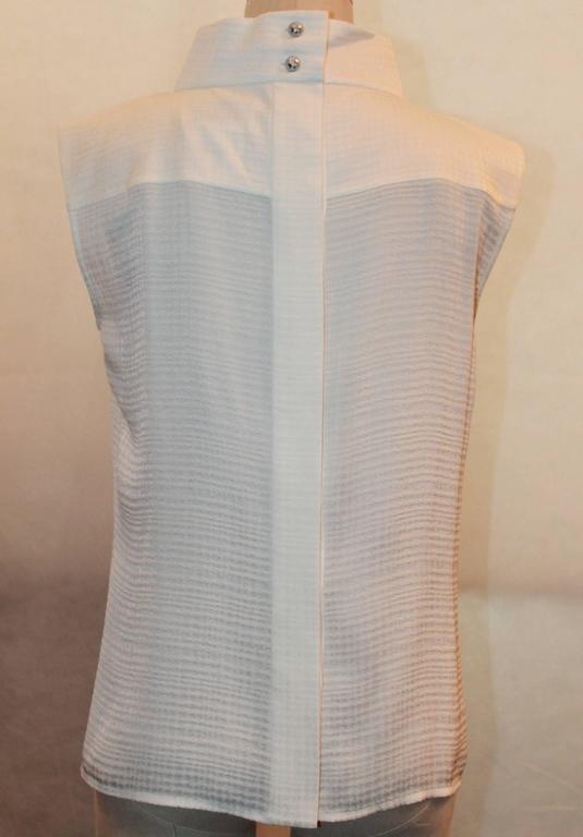 Chanel Ivory Sleeveless Pleated Silk top w/ Bow Detail & Globe buttons - 42 3