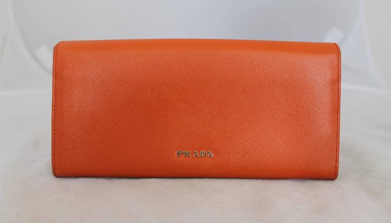 Brown Prada Orange Saffiano Wallet w/ Orange Stones & Rhinestones GHW For Sale
