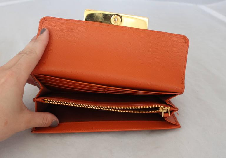 Women's Prada Orange Saffiano Wallet w/ Orange Stones & Rhinestones GHW For Sale