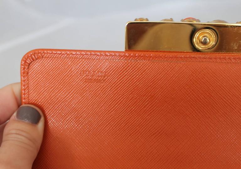 Prada Orange Saffiano Wallet w/ Orange Stones & Rhinestones GHW For Sale 1