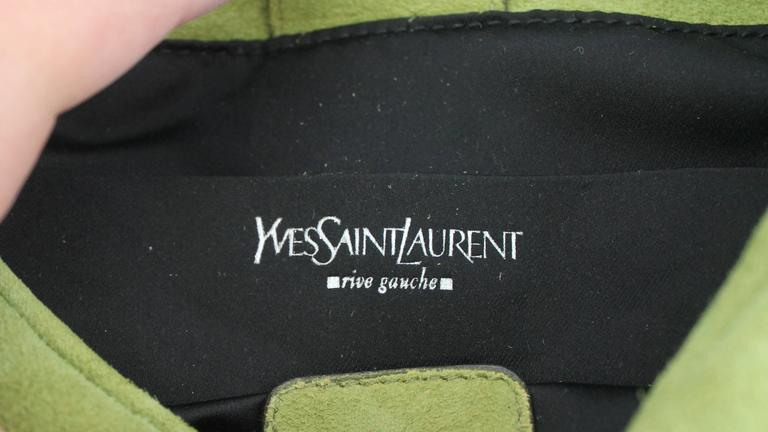 Brown YSL Green Suede Bag with Front Ruching & Rhinestones  For Sale