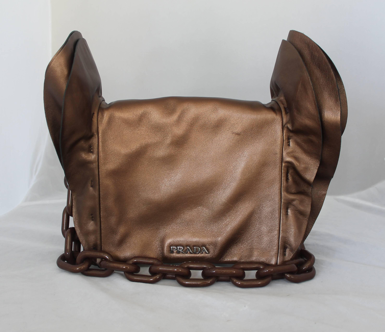 Prada Bronze Leather Handbag W/ Side Ruffles & Brown Glitter Enamel Link Strap nk0yG