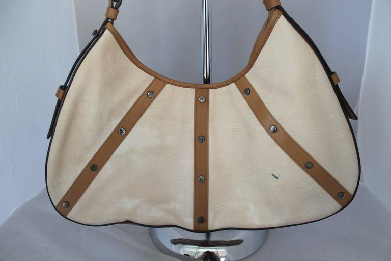 Brown Yves Saint Laurent Beige Canvas Shoulder Bag w/ Enamel & Silver Studs For Sale