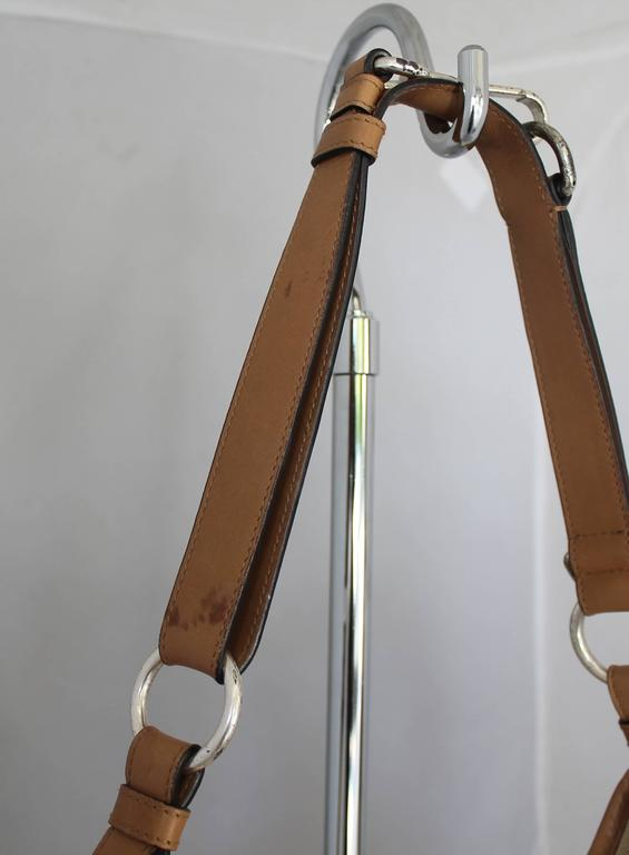 Yves Saint Laurent Beige Canvas Shoulder Bag w/ Enamel & Silver Studs For Sale 3
