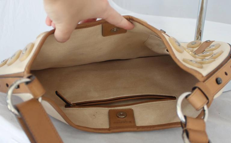 Yves Saint Laurent Beige Canvas Shoulder Bag w/ Enamel & Silver Studs In Fair Condition For Sale In Palm Beach, FL