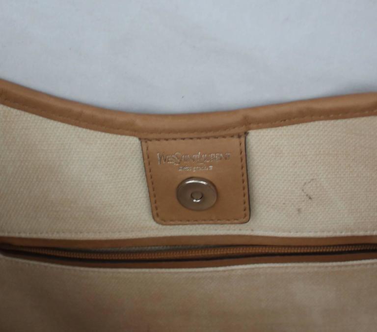 Yves Saint Laurent Beige Canvas Shoulder Bag w/ Enamel & Silver Studs For Sale 4