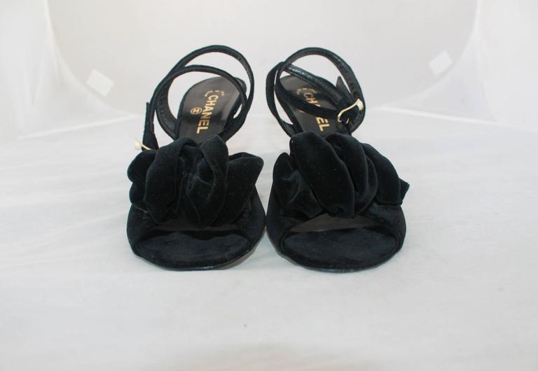 Chanel Black Velvet Open-Toe Strappy Heel w/ Floral Cluster - 39.5 2