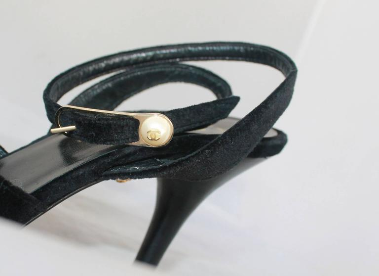 Chanel Black Velvet Open-Toe Strappy Heel w/ Floral Cluster - 39.5 5