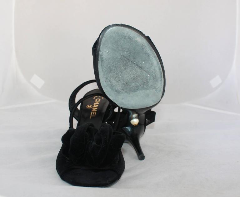 Chanel Black Velvet Open-Toe Strappy Heel w/ Floral Cluster - 39.5 6