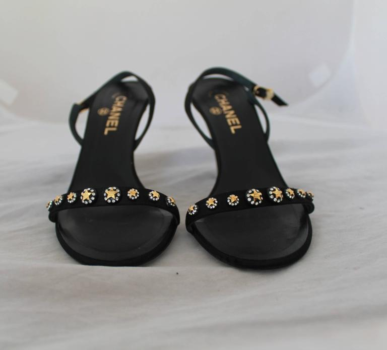 Chanel Black Satin Open-Toe Strappy Sandal Sling Back w/