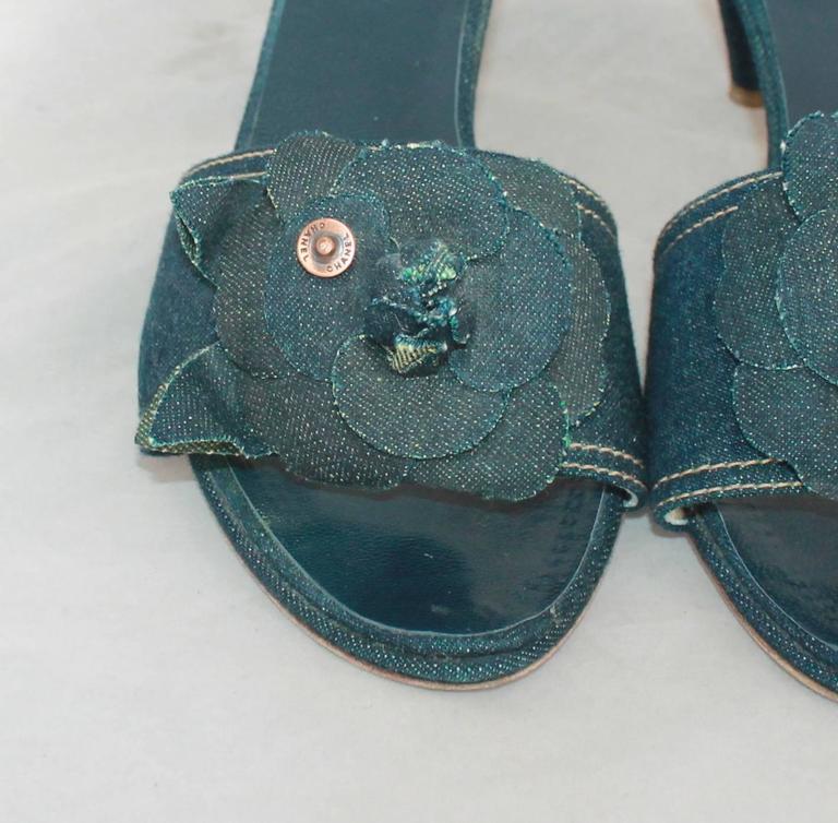 Black Chanel Blue Denim Slides w/ Camellia & Chanel Rivet - 40 For Sale