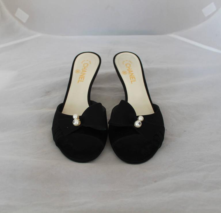 "Chanel Black Satin Ribbed Slides w/ Front Bow & ""CC"" Pearl - 40 3"