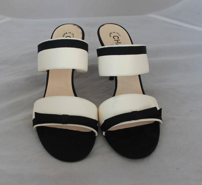 Chanel Ivory Lambskin Double Strap Heels w/ Black Ribbon Trim - 40 2