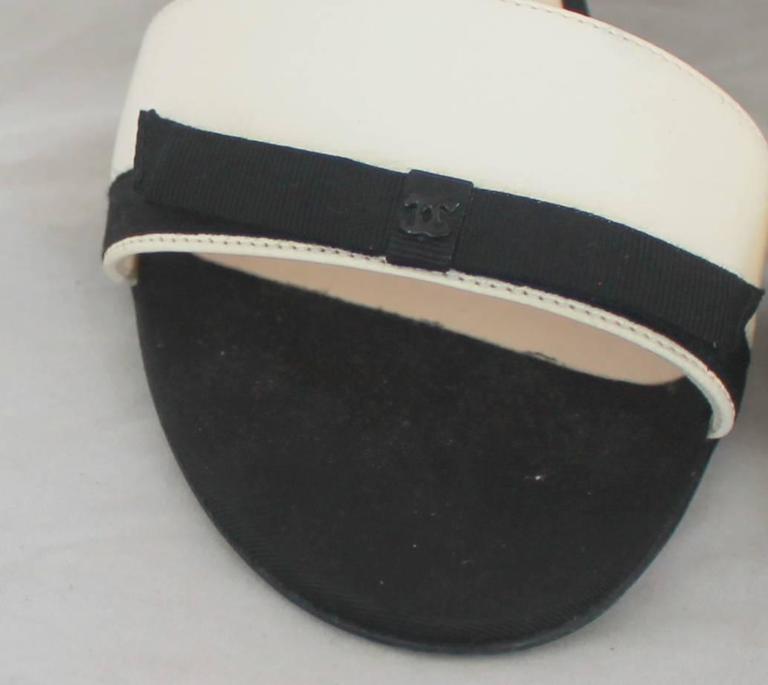 Chanel Ivory Lambskin Double Strap Heels w/ Black Ribbon Trim - 40 3