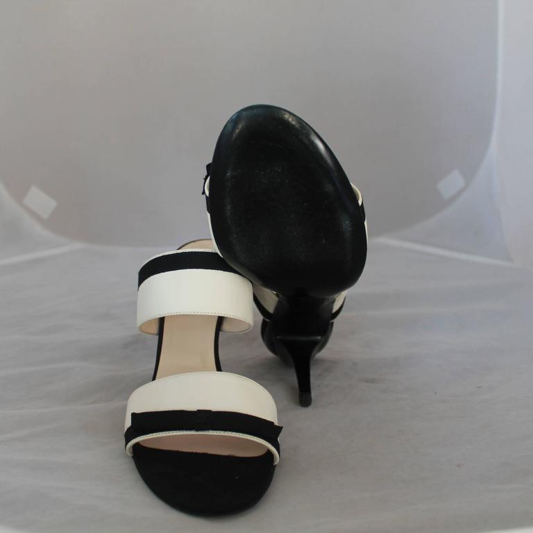 Chanel Ivory Lambskin Double Strap Heels w/ Black Ribbon Trim - 40 6